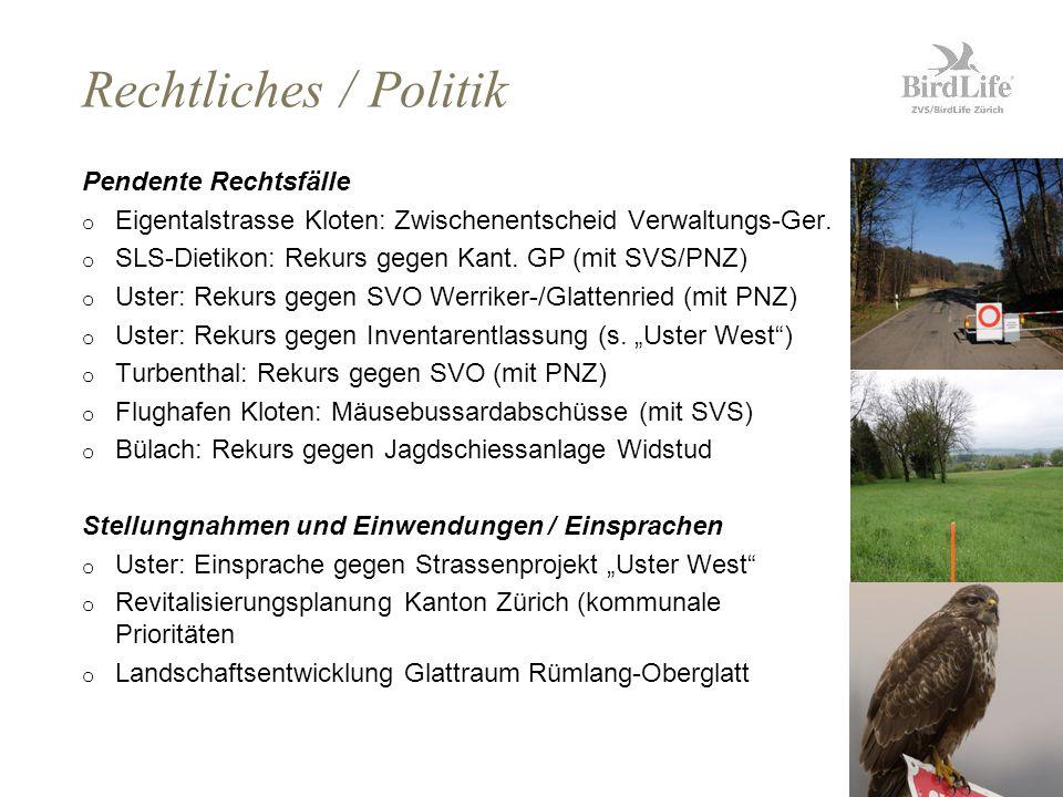 Seite8 Rechtliches / Politik Pendente Rechtsfälle o Eigentalstrasse Kloten: Zwischenentscheid Verwaltungs-Ger.