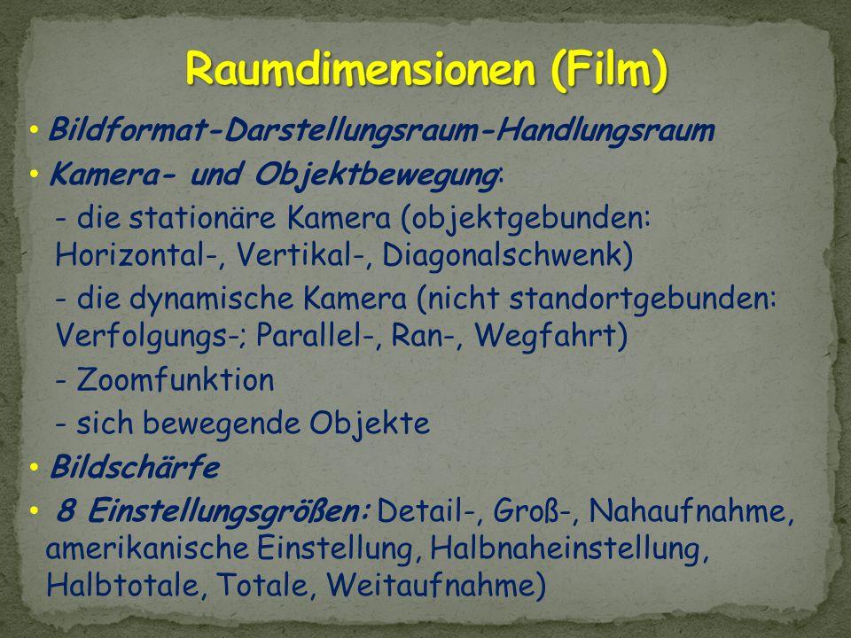 Bildformat-Darstellungsraum-Handlungsraum Kamera- und Objektbewegung: - die stationäre Kamera (objektgebunden: Horizontal-, Vertikal-, Diagonalschwenk