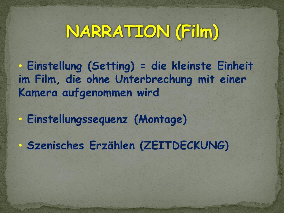 Einstellung (Setting) = die kleinste Einheit im Film, die ohne Unterbrechung mit einer Kamera aufgenommen wird Einstellungssequenz (Montage) Szenische