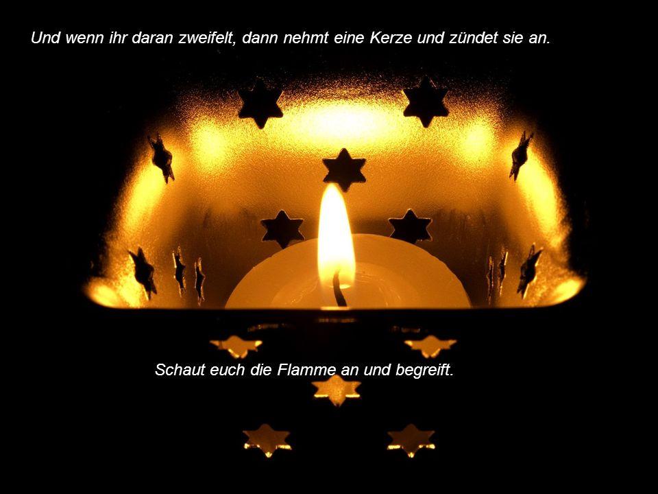 Dann vergesst nicht, dass eine einzige Flamme mehr ist wie die Dunkelheit. Habt Mut und wachtet nicht auf die andern. Seit angezündet und brennt.