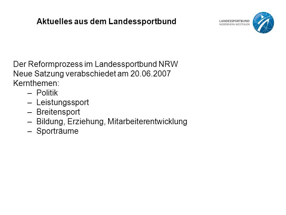 Aktuelles aus dem Landessportbund Der Reformprozess im Landessportbund NRW Neue Satzung verabschiedet am 20.06.2007 Kernthemen: –Politik –Leistungsspo