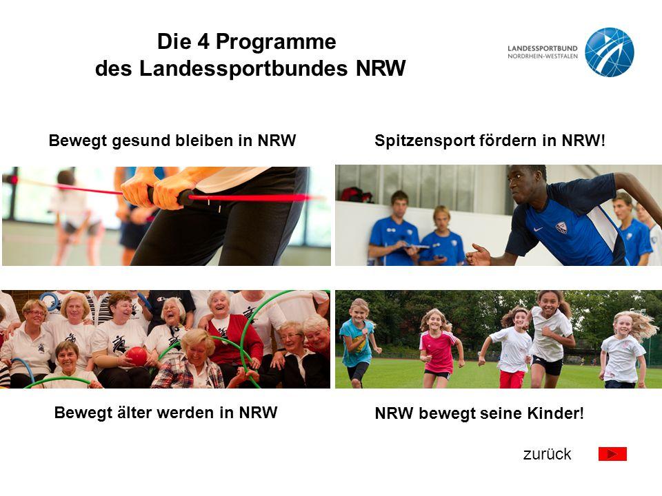 Bewegt gesund bleiben in NRW! Bewegt älter werden in NRW! NRW bewegt seine Kinder! Spitzensport fördern in NRW! Die 4 Programme des Landessportbundes