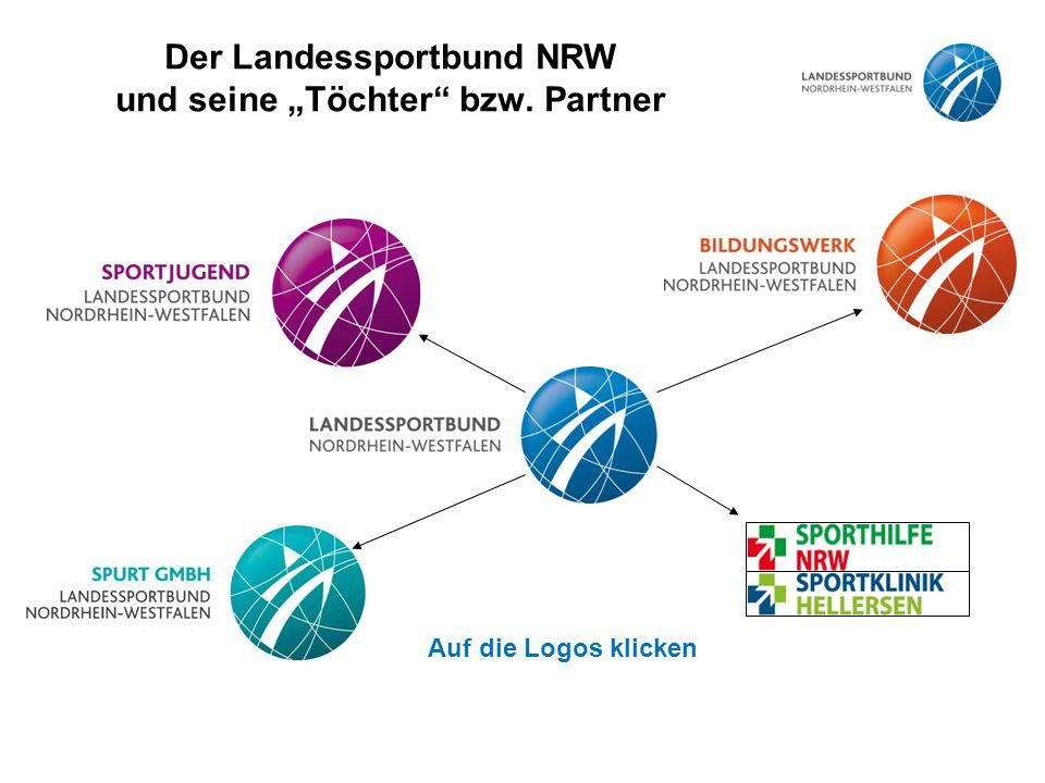 """Der Landessportbund NRW und seine """"Töchter bzw. Partner Auf die Logos klicken"""