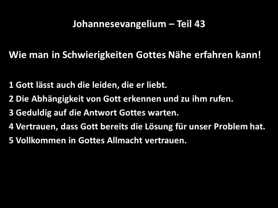 Johannesevangelium – Teil 43 Wie man in Schwierigkeiten Gottes Nähe erfahren kann! 1 Gott lässt auch die leiden, die er liebt. 2 Die Abhängigkeit von