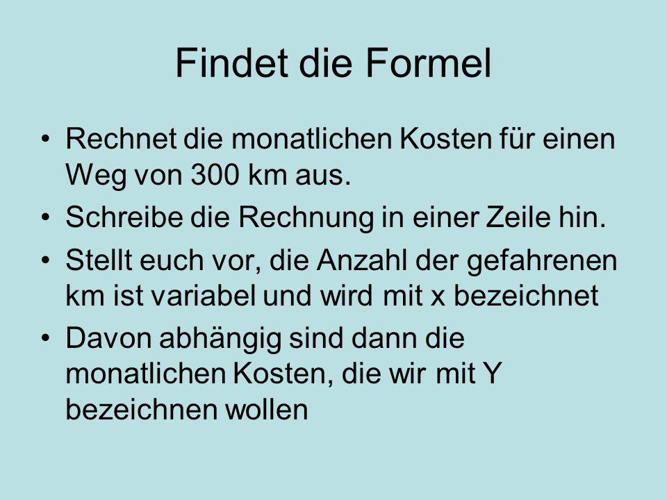 Findet die Formel Rechnet die monatlichen Kosten für einen Weg von 300 km aus.