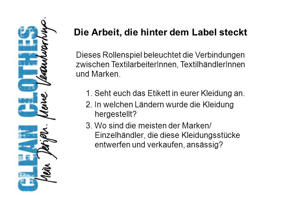 Die Arbeit, die hinter dem Label steckt 1. Seht euch das Etikett in eurer Kleidung an. 2. In welchen Ländern wurde die Kleidung hergestellt? 3. Wo sin