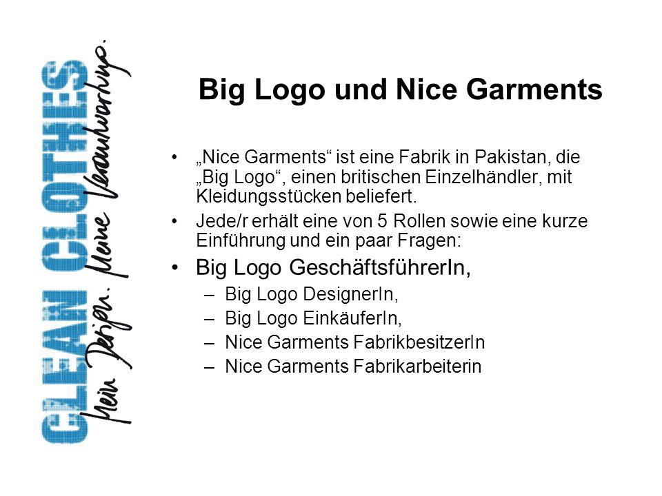 """Big Logo und Nice Garments """"Nice Garments"""" ist eine Fabrik in Pakistan, die """"Big Logo"""", einen britischen Einzelhändler, mit Kleidungsstücken beliefert"""