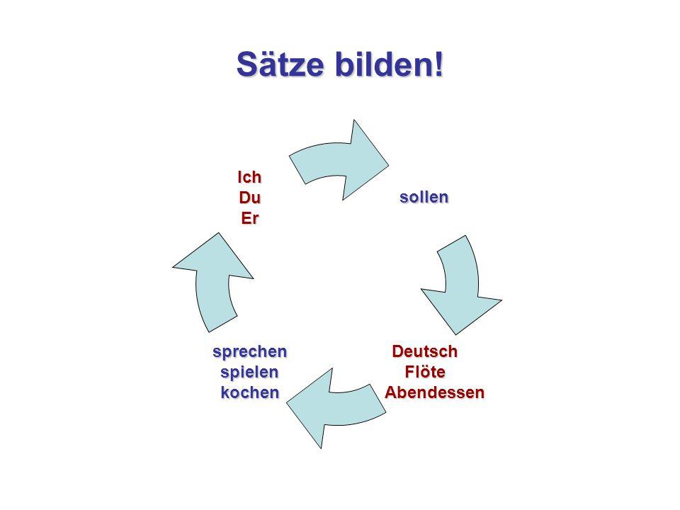 Sätze bilden! sollen DeutschFlöte Abendessen Abendessensprechenspielenkochen IchDuEr