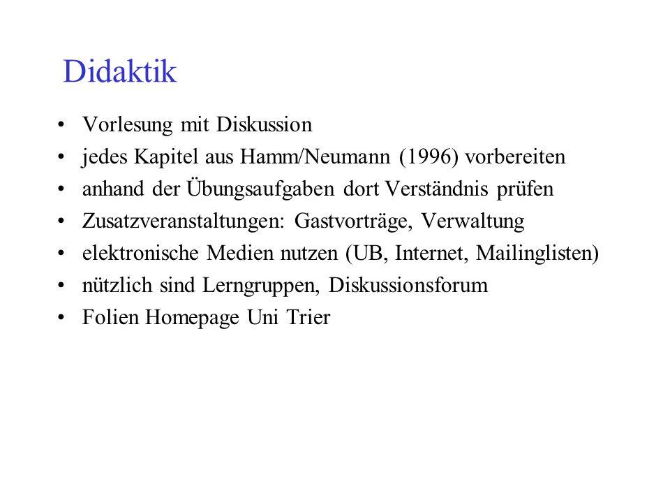 Didaktik Vorlesung mit Diskussion jedes Kapitel aus Hamm/Neumann (1996) vorbereiten anhand der Übungsaufgaben dort Verständnis prüfen Zusatzveranstalt