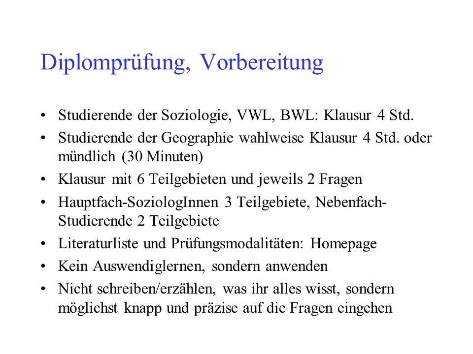 Diplomprüfung, Vorbereitung Studierende der Soziologie, VWL, BWL: Klausur 4 Std. Studierende der Geographie wahlweise Klausur 4 Std. oder mündlich (30