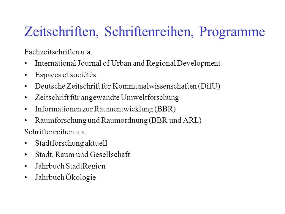 Zeitschriften, Schriftenreihen, Programme Fachzeitschriften u.a. International Journal of Urban and Regional Development Espaces et sociétés Deutsche
