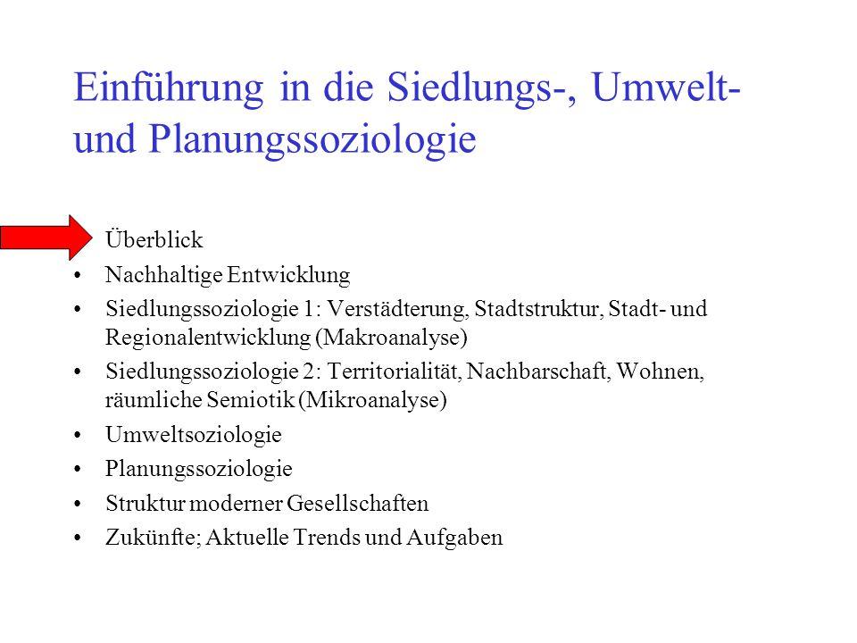 Einführung in die Siedlungs-, Umwelt- und Planungssoziologie Überblick Nachhaltige Entwicklung Siedlungssoziologie 1: Verstädterung, Stadtstruktur, St