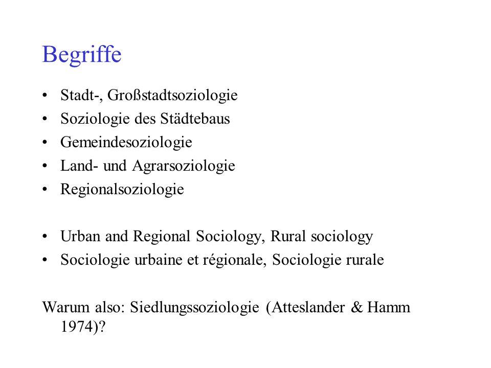 Begriffe Stadt-, Großstadtsoziologie Soziologie des Städtebaus Gemeindesoziologie Land- und Agrarsoziologie Regionalsoziologie Urban and Regional Soci