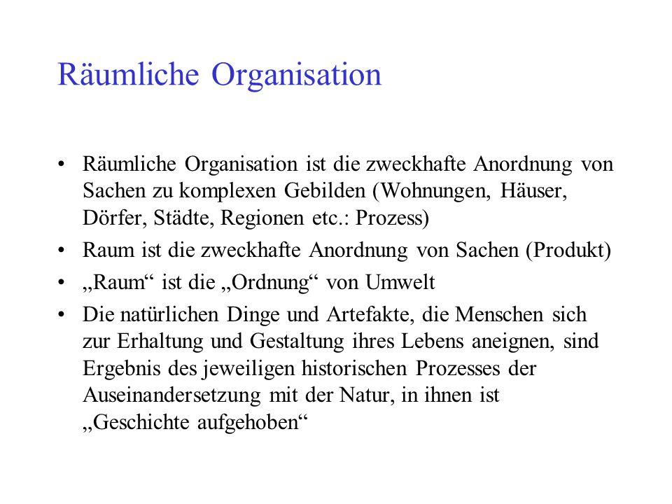Räumliche Organisation Räumliche Organisation ist die zweckhafte Anordnung von Sachen zu komplexen Gebilden (Wohnungen, Häuser, Dörfer, Städte, Region