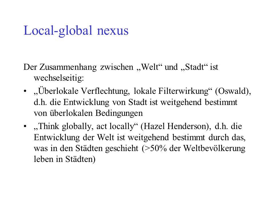 """Local-global nexus Der Zusammenhang zwischen """"Welt"""" und """"Stadt"""" ist wechselseitig: """"Überlokale Verflechtung, lokale Filterwirkung"""" (Oswald), d.h. die"""