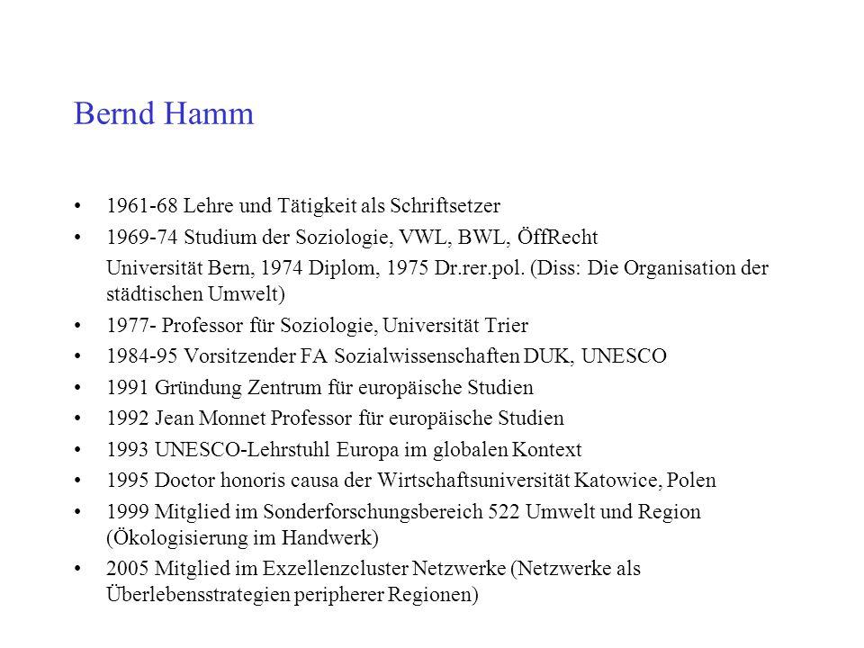 Bernd Hamm 1961-68 Lehre und Tätigkeit als Schriftsetzer 1969-74 Studium der Soziologie, VWL, BWL, ÖffRecht Universität Bern, 1974 Diplom, 1975 Dr.rer