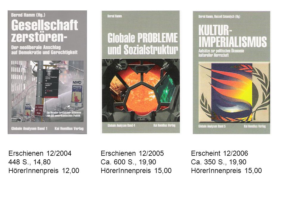 Erschienen 12/2004 448 S., 14,80 HörerInnenpreis 12,00 Erschienen 12/2005 Ca. 600 S., 19,90 HörerInnenpreis 15,00 Erscheint 12/2006 Ca. 350 S., 19,90