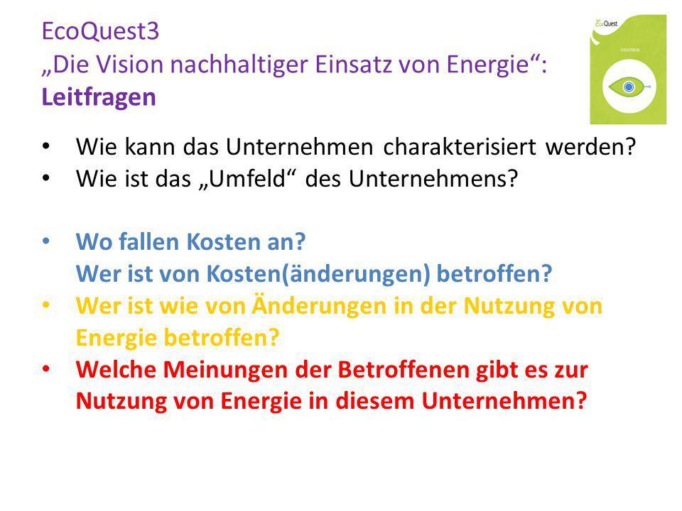 """EcoQuest3 """"Die Vision nachhaltiger Einsatz von Energie"""": Leitfragen Wie kann das Unternehmen charakterisiert werden? Wie ist das """"Umfeld"""" des Unterneh"""