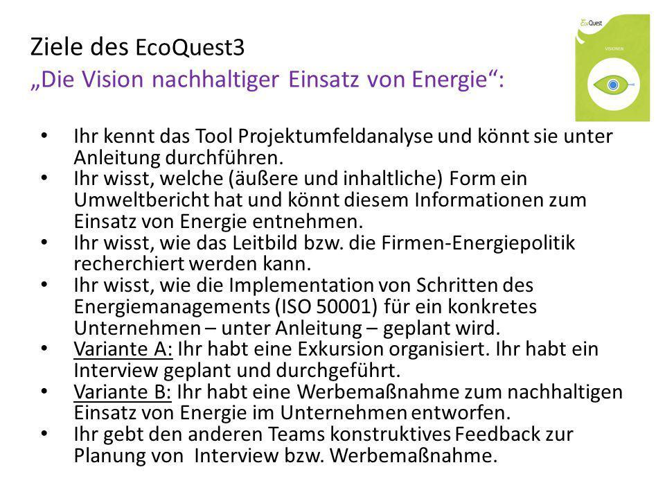 """Ziele des EcoQuest3 """"Die Vision nachhaltiger Einsatz von Energie"""": Ihr kennt das Tool Projektumfeldanalyse und könnt sie unter Anleitung durchführen."""