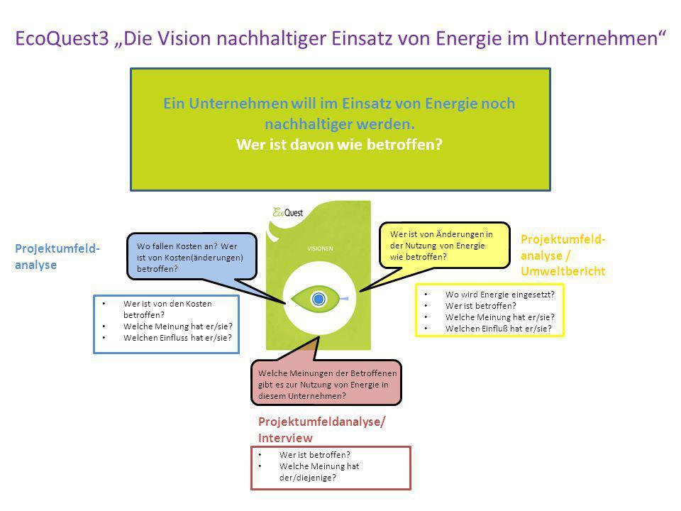 Ein Unternehmen will im Einsatz von Energie noch nachhaltiger werden. Wer ist davon wie betroffen? Wer ist von Änderungen in der Nutzung von Energie w