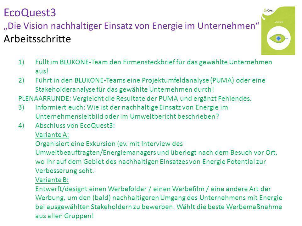 """EcoQuest3 """"Die Vision nachhaltiger Einsatz von Energie im Unternehmen Arbeitsschritte ½ UE Firmensteckbrief 1 UE Projektumfeldanalyse ½ UE Analyse (nachhaltiger) Einsatz von Energie."""