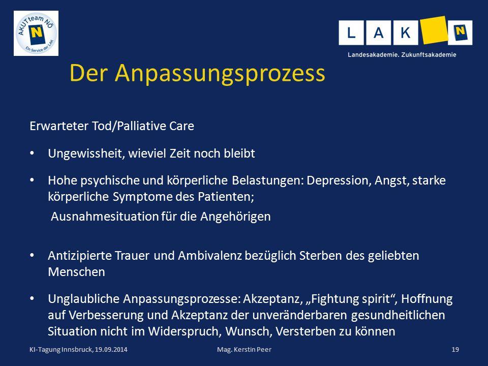 Der Anpassungsprozess Erwarteter Tod/Palliative Care Ungewissheit, wieviel Zeit noch bleibt Hohe psychische und körperliche Belastungen: Depression, A
