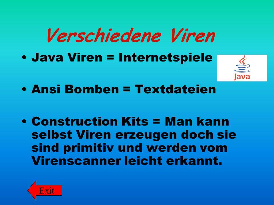 Verschiedene Viren Java Viren = Internetspiele Ansi Bomben = Textdateien Construction Kits = Man kann selbst Viren erzeugen doch sie sind primitiv und