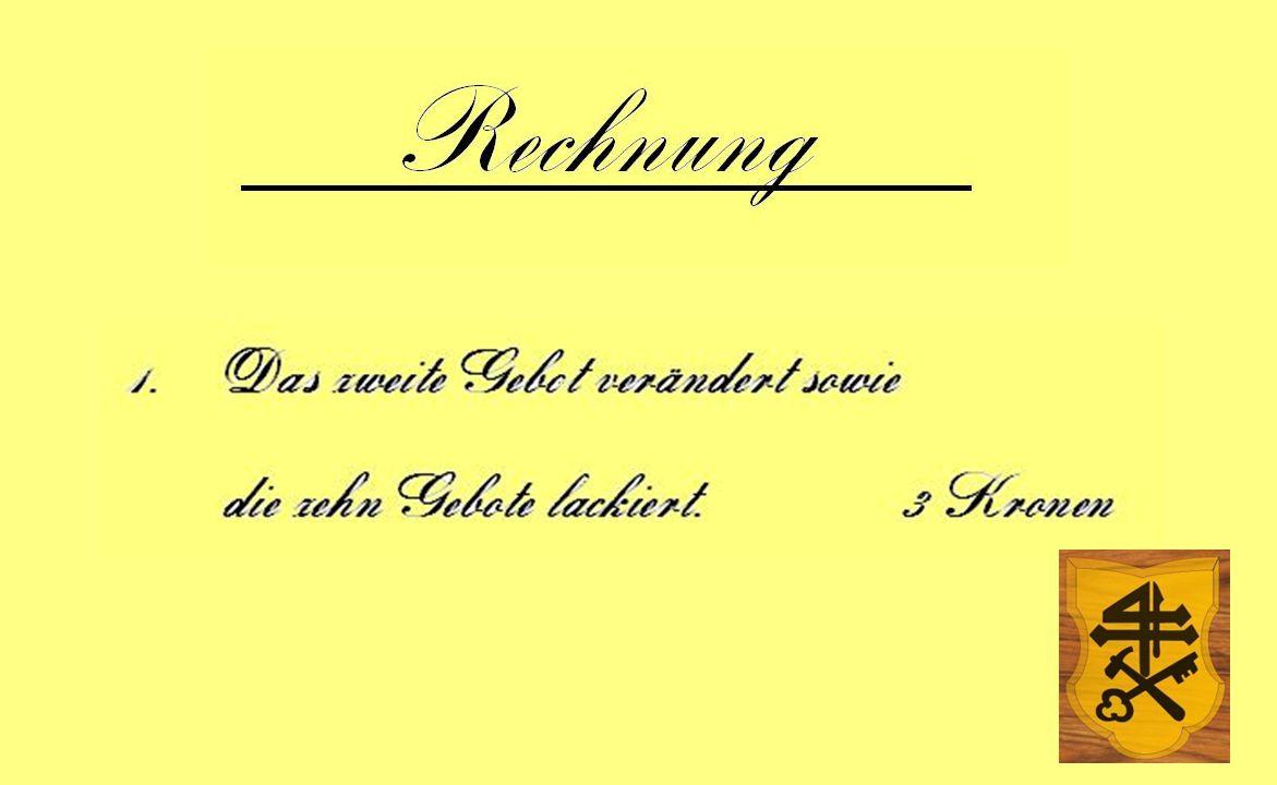 Die säuberlich notierten Aufzeichnungen zeugen von dem gesunden Humor des Künstlers und des Küsters, der sie mit dem gewichtigen Amtssiegel versah und ordnungsgemäß wie folgt registrierte: Die säuberlich notierten Aufzeichnungen zeugen von dem gesunden Humor des Künstlers und des Küsters, der sie mit dem gewichtigen Amtssiegel versah und ordnungsgemäß wie folgt registrierte: