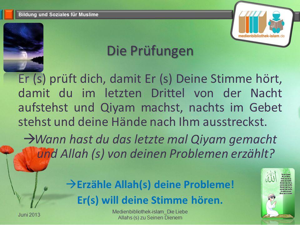 Die Prüfungen Er (s) prüft dich, damit Er (s) Deine Stimme hört, damit du im letzten Drittel von der Nacht aufstehst und Qiyam machst, nachts im Gebet