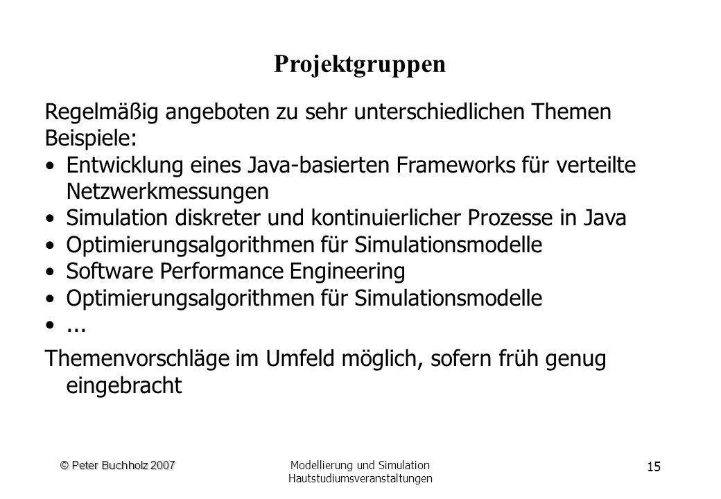 © Peter Buchholz 2007 Modellierung und Simulation Hautstudiumsveranstaltungen 15 Projektgruppen Regelmäßig angeboten zu sehr unterschiedlichen Themen Beispiele: Entwicklung eines Java-basierten Frameworks für verteilte Netzwerkmessungen Simulation diskreter und kontinuierlicher Prozesse in Java Optimierungsalgorithmen für Simulationsmodelle Software Performance Engineering Optimierungsalgorithmen für Simulationsmodelle...