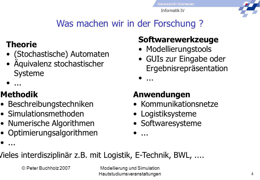 Informatik IV © Peter Buchholz 2007Modellierung und Simulation Hautstudiumsveranstaltungen 4 Was machen wir in der Forschung .