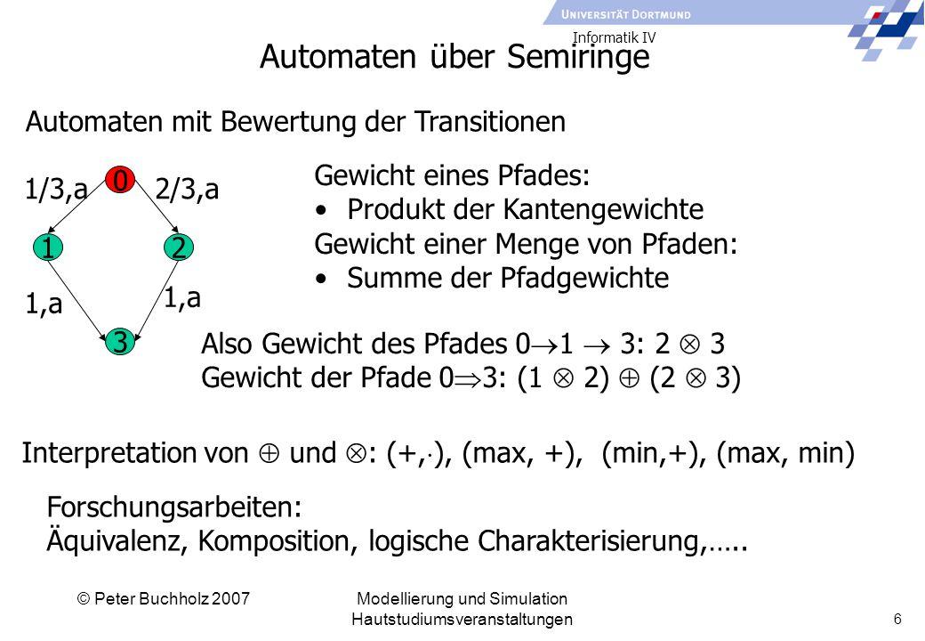 Informatik IV © Peter Buchholz 2007Modellierung und Simulation Hautstudiumsveranstaltungen 6 Automaten über Semiringe Automaten mit Bewertung der Transitionen 0 12 3 1/3,a2/3,a 1,a Gewicht eines Pfades: Produkt der Kantengewichte Gewicht einer Menge von Pfaden: Summe der Pfadgewichte Also Gewicht des Pfades 0  1  3: 2  3 Gewicht der Pfade 0  3: (1  2)  (2  3) Interpretation von  und  : (+,  ), (max, +), (min,+), (max, min) Forschungsarbeiten: Äquivalenz, Komposition, logische Charakterisierung,…..