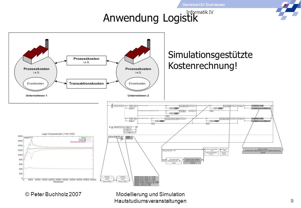 Informatik IV © Peter Buchholz 2007Modellierung und Simulation Hautstudiumsveranstaltungen 9 Anwendung Logistik Simulationsgestützte Kostenrechnung!
