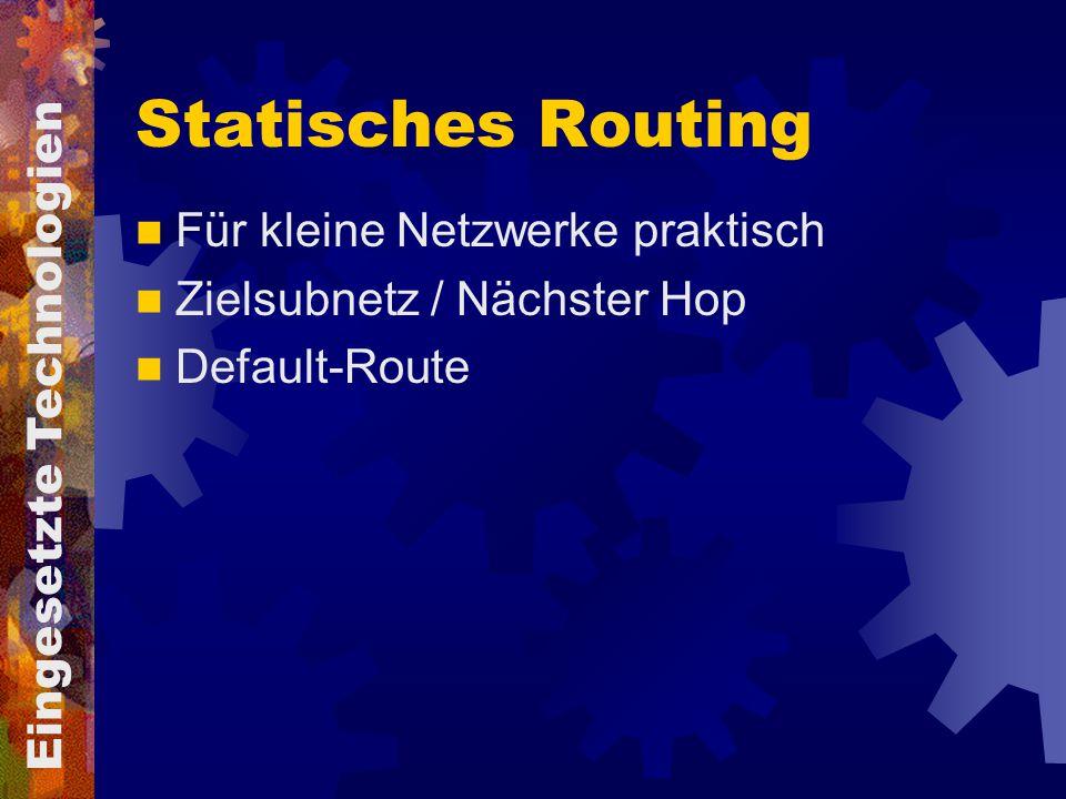 Statisches Routing Für kleine Netzwerke praktisch Zielsubnetz / Nächster Hop Default-Route Eingesetzte Technologien