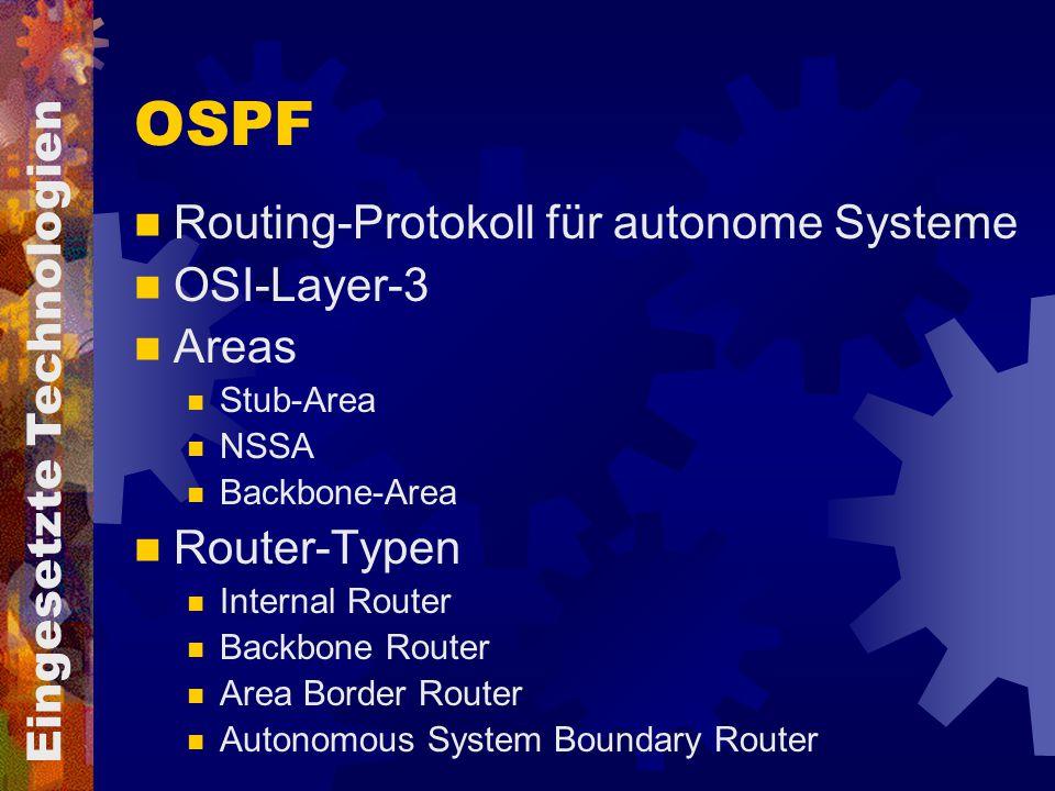 OSPF Routing-Protokoll für autonome Systeme OSI-Layer-3 Areas Stub-Area NSSA Backbone-Area Router-Typen Internal Router Backbone Router Area Border Ro