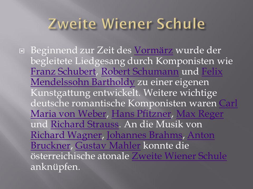  Beginnend zur Zeit des Vormärz wurde der begleitete Liedgesang durch Komponisten wie Franz Schubert, Robert Schumann und Felix Mendelssohn Bartholdy