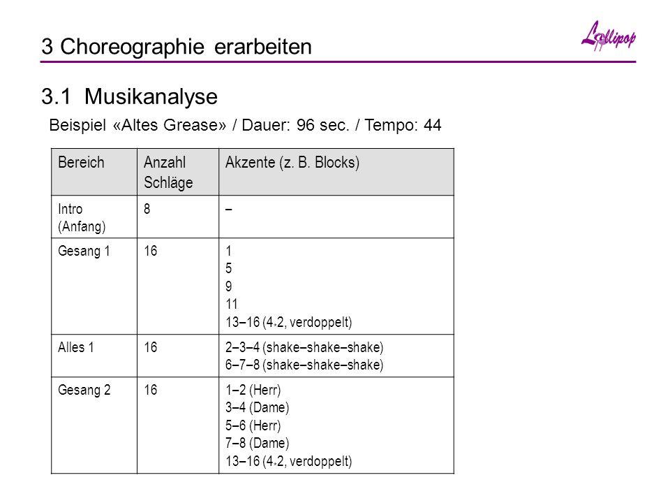 3 Choreographie erarbeiten 3.1 Musikanalyse Beispiel «Altes Grease» / Dauer: 96 sec.