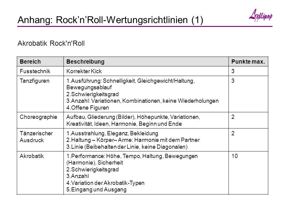 Anhang: Rock'n'Roll-Wertungsrichtlinien (1) Akrobatik Rock n Roll BereichBeschreibungPunkte max.