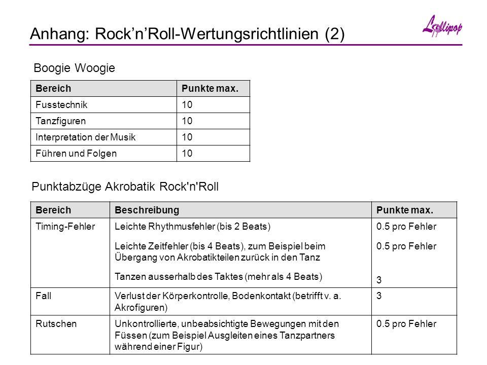 Anhang: Rock'n'Roll-Wertungsrichtlinien (2) Punktabzüge Akrobatik Rock n Roll BereichBeschreibungPunkte max.