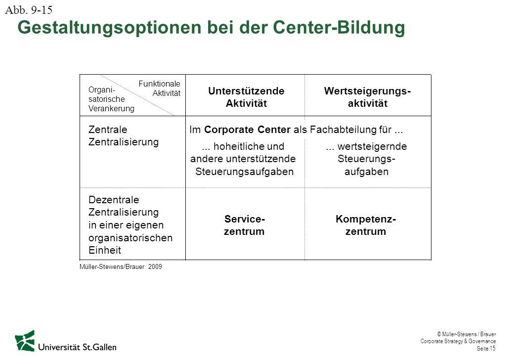 © Müller-Stewens / Brauer Corporate Strategy & Governance Seite 15 Gestaltungsoptionen bei der Center-Bildung Organi- satorische Verankerung Funktiona