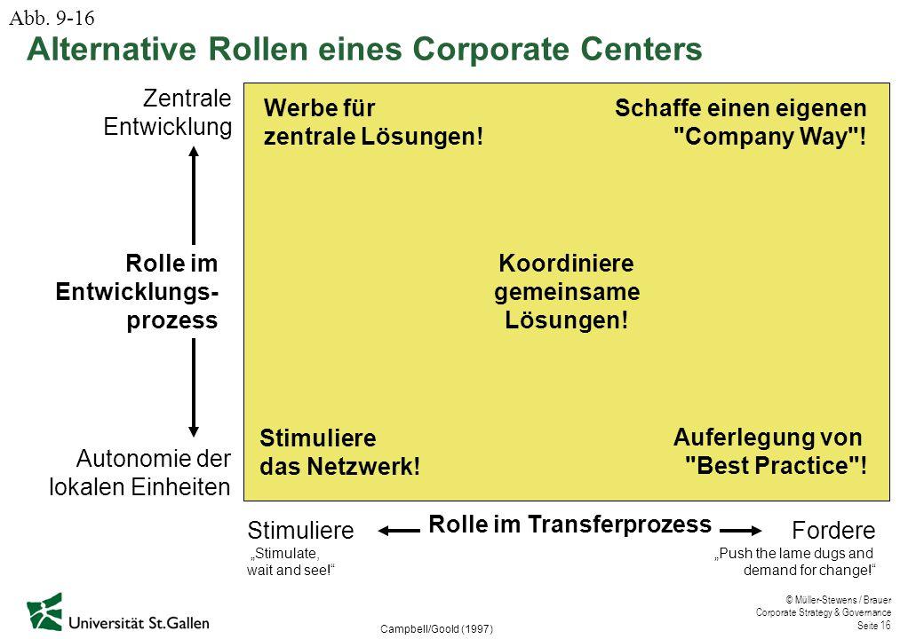 "© Müller-Stewens / Brauer Corporate Strategy & Governance Seite 16 Alternative Rollen eines Corporate Centers Campbell/Goold (1997) Stimuliere ""Stimul"