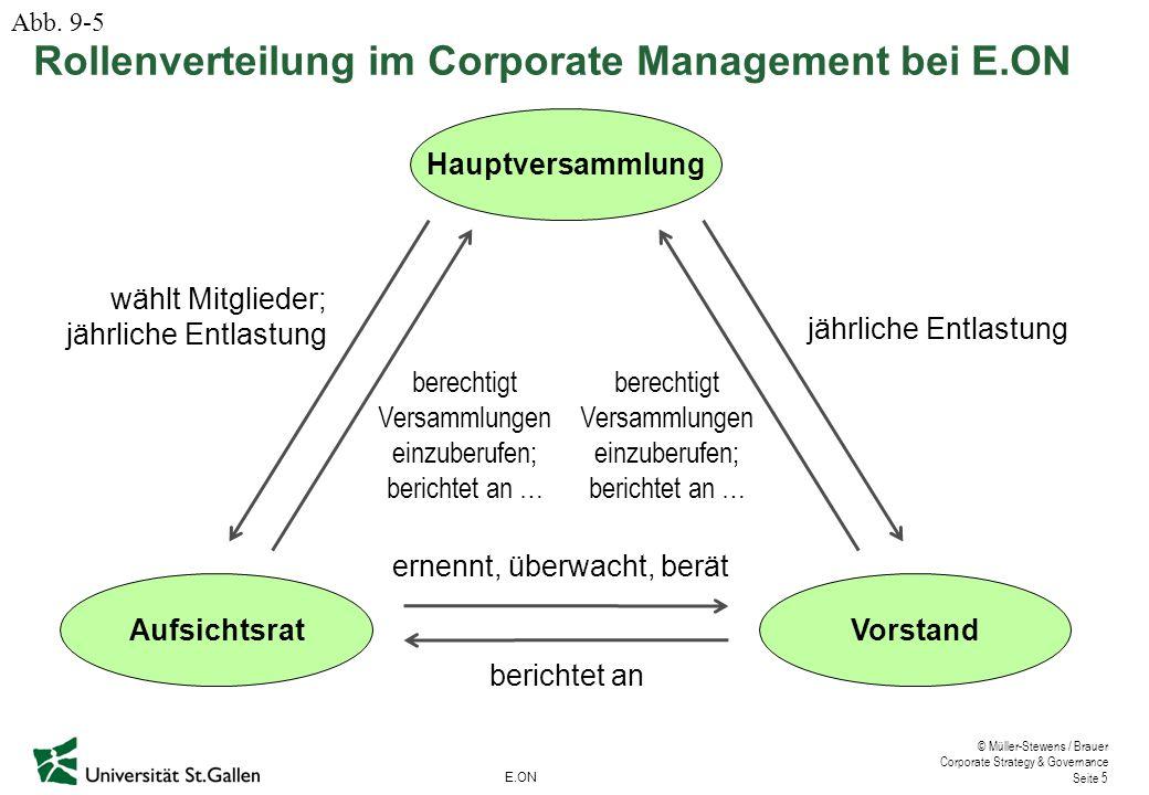 © Müller-Stewens / Brauer Corporate Strategy & Governance Seite 5 Hauptversammlung AufsichtsratVorstand wählt Mitglieder; jährliche Entlastung berecht