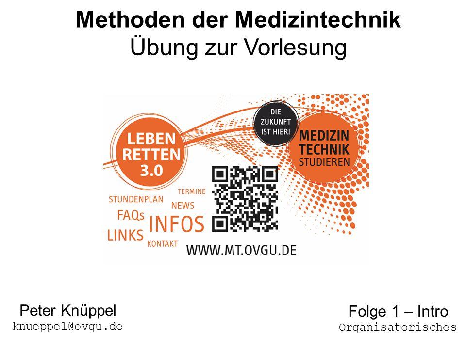 117.10.2014Übung 1 - MdMT Methoden der Medizintechnik Übung zur Vorlesung Peter Knüppel knueppel@ovgu.de Folge 1 – Intro Organisatorisches