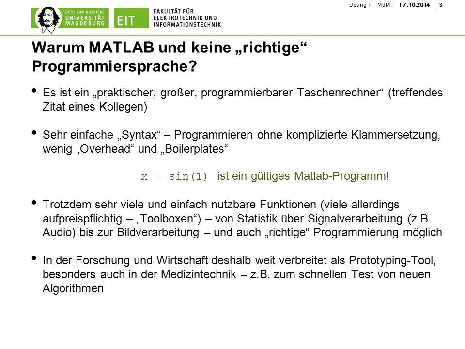 """417.10.2014Übung 1 - MdMT ca.15 - 30 min Erklärungsblock (""""Frontalunterricht ) inkl."""
