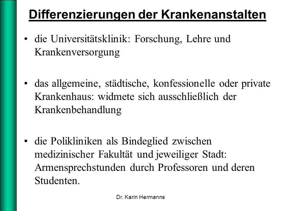 Differenzierungen der Krankenanstalten die Universitätsklinik: Forschung, Lehre und Krankenversorgung das allgemeine, städtische, konfessionelle oder