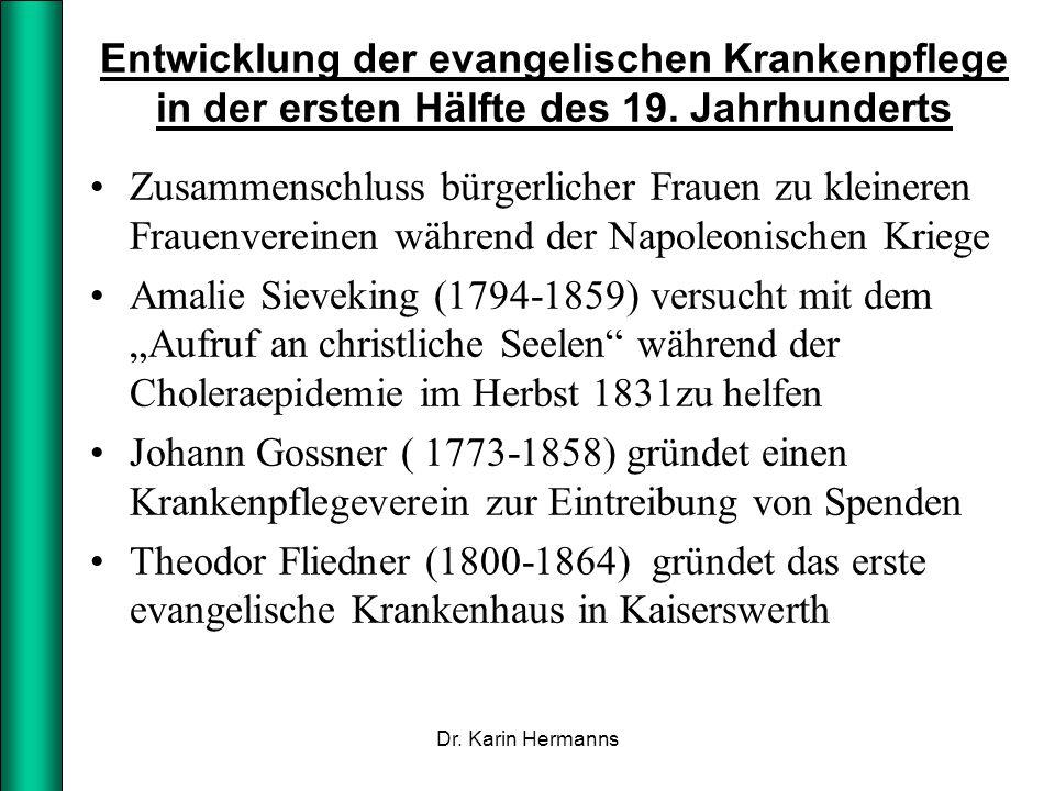 Initiativen von Theodor Fliedner Verein der Gefangenenfürsorge 1826, Betreuung von entlassenen, weiblichen Strafgefangenen Verein zur Einrichtung von Kinderschulen 1835 Gründung des ersten deutschen evangelischen Krankenhauses 1836 Krankenhaus sollte ausschließlich der Lehre dienen 1861 sind 28 Mutterhäuser mit 1207 Diakonissen in aller Welt tätig.