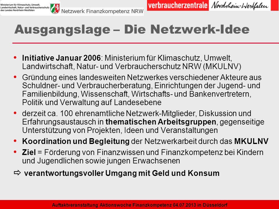 2 Auftaktveranstaltung Aktionswoche Finanzkompetenz 04.07.2013 in Düsseldorf Ausgangslage – Die Netzwerk-Idee Initiative Januar 2006: Ministerium für