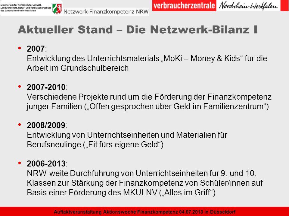 3 Auftaktveranstaltung Aktionswoche Finanzkompetenz 04.07.2013 in Düsseldorf Aktueller Stand – Die Netzwerk-Bilanz I 2007: Entwicklung des Unterrichts