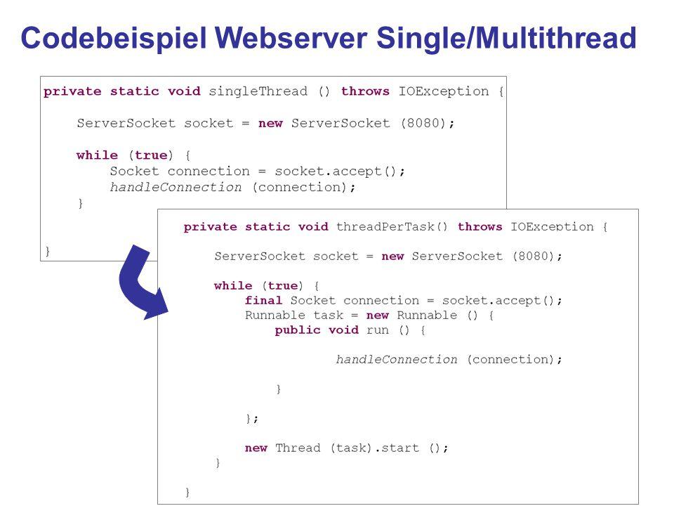 Codebeispiel Webserver Single/Multithread