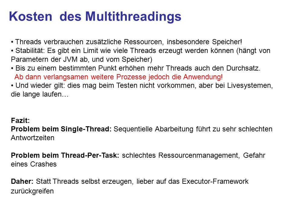 Kosten des Multithreadings Threads verbrauchen zusätzliche Ressourcen, insbesondere Speicher.